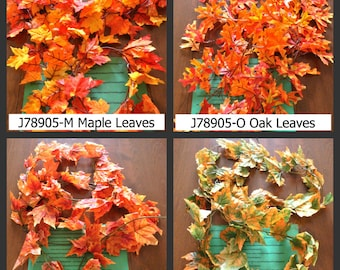 Fall Leaf Foliage Garland - assorted colors - Maple or Oak Leaves - 9 feet - 1 pkg