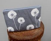 Oversized Linen Zipper Pouch - Linen Wildflowers
