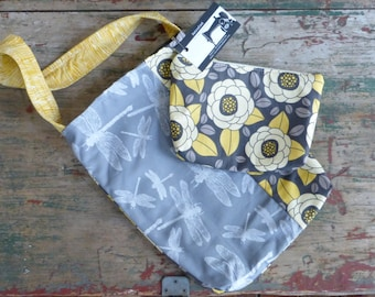 Yellow Grey Dragonfly Bag and Zipper Pouch SET - 2 Pockets - Woodland
