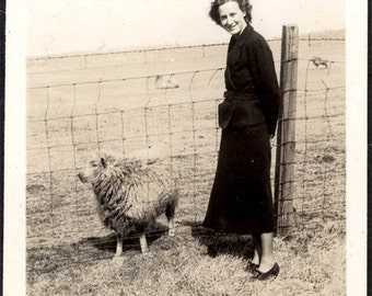 vintage photo 1937 Farmerette Young woman w Sheep