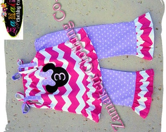 Girl Minnie Mouse Clothing Pink Chevron Outfit Pant Set Halter Capri Short Birthday Baby Gift Size 6 9 12 18 24 month 2t 3t 4t 5t 6 7 8