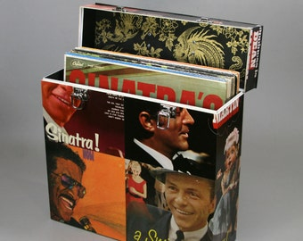 Handmade 12-inch LP Record Case Box - The Rat Pack: Frank, Dean and Sammy