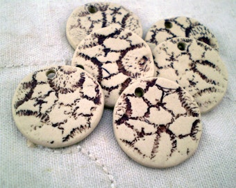 Set of 6 Ceramic Beads, Clay Beads, Disc Beads, Loose Beads, Jewelry Supplies