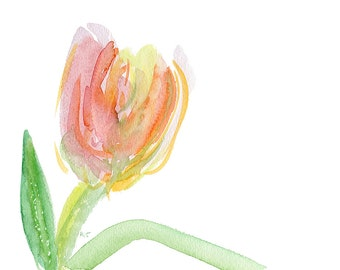 Instant download of a pastel drawing   A single tulip //  jpg file / home decor / wall art /  flower  fluffy