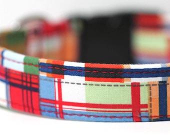 Plaid Dog Collar - Patchwork Dog Collar