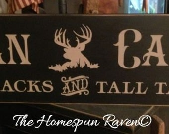 Man Cave Big Racks Tall Tales Primitive Handpainted Wood Sign Plaque BRAND NEW