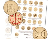 Magical Icelandic Staves digital collage sheet 25.4mm 25mm 1 inch 1in circle