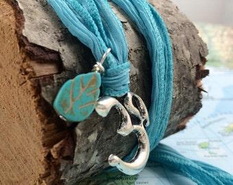 Yoga Wrap Bracelet/Necklace with Om Pendant on Dyed Ribbon