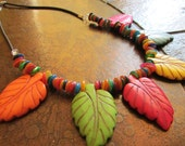 Tropical Oasis Howlite Glass and Leather Beaded necklace