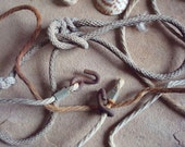 Rust Stained Cotton Rope with Knots & Metal Hooks Found Object - Assemblage Sculpture Art Supplies