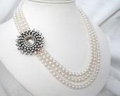 Round Rhinestone Sunburst Pearl Necklace, 3 Strand White Pearl Bridal Necklace, Silver Leaf Clasp, Rhinestone Flower Necklace, Moonburst