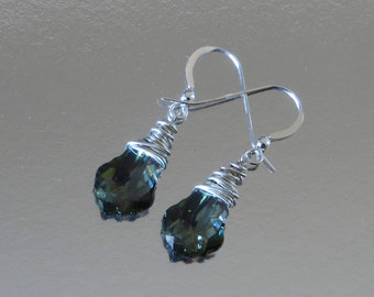 As Seen On Law And Order SVU. Sterling Silver Wire Wrapped Earrings, Green Teardrop Swarovski Crystal Earrings