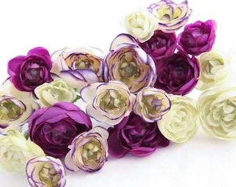 20 Mini Ranunculus in Purple and Creamy Lime Tones - silk flowers, artificial flowers, millinery, flower, flower crowns - ITEM 0399