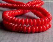4mm Red Czech Glass Bead Rondelle Spacer : 100 pc Opaque Red 4mm Rondelle Beads