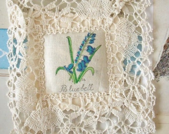 Sale / Vintage / Bluebell / Hand Painted Pot-Pourri Drawer Sachet  with Nottingham Lace / Made in England