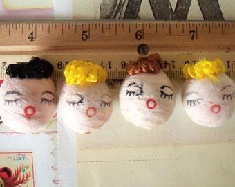 "Vintage / Larger Spun Cotton Doll Heads / Set of Four / 25 mm / About 1"" Diameter"