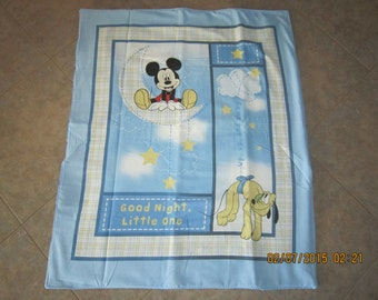 Mickey Mouse Baby Crib Blanket with Mickey Mouse Cotton Fabric on back 35x43.5