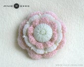 Handmade Crocheted, Felted and Embellished Wool Brooch Pin in Pink and Cream