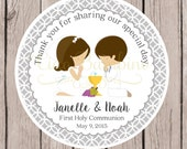First Holy Communion Favor Tags / Communion Tags in Silver Gray for Twins, Siblings, Cousins / Choose Your Hair Color / Set of 12 tags