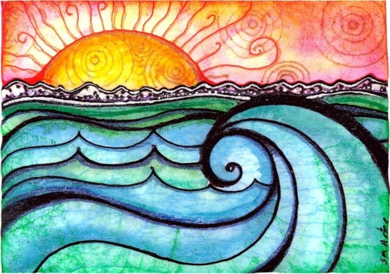 Waves Art A New Day Beach Sunset Sun Print Painting