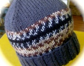 Lady's Hat, Hand Knit, Charcoal Gray with Multicolor Band, One Size Fits Most