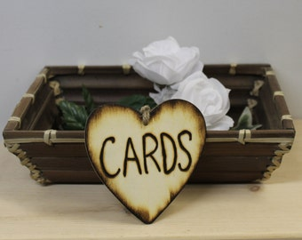 Rustic Wedding wood Heart CARDS  Tie on Card holder woodburned Engraved Country Woodland Barn style weddings Card box basket