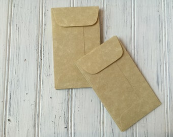 25 Aged Coin Envelopes, Parchment Envelope, Business Card Envelopes, Wedding Staionery, Seed Envelopes, Mini Aged Envelopes with Flap, e25