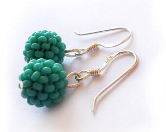 Turquoise Beads Earrings - Sterling Silver Hoop Earrings - Blue Beadwork Earrings