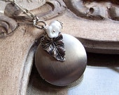 Silver Locket Necklace, Long Locket Necklace, Natured Inspired Necklace