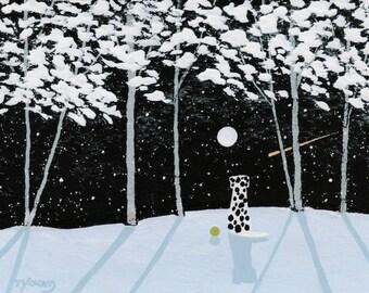 Dalmatian Dog Folk art Print of Todd Young painting FALLING SNOW