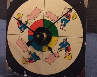 1950's PIG In The GARDEN Game Spinner Clock