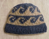 TOQUE Hat Cowichan Pacific WAVES design Canadian wool handknit from Raincoaststudio on Etsy
