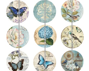"1"" Inch Victorian Blue Garden Flatbacks, Pins or Magnets 12 Ct."