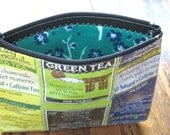 UpCyClEd Recycled Tea Bags Zipper Pouch Organizer