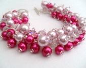 Bridal Jewelry, Wedding, Pearl Bridesmaid Bracelet, Hot Pink and Pale Pink Pearl Bracelet, Cluster Bracelet, Pearl Bracelet, Pink Wedding