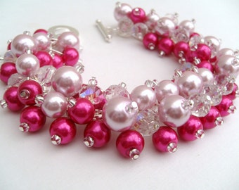 Bridal Jewelry, Wedding, Pearl Bridesmaid Bracelet, Hot Pink and Pale Pink Pearl Bracelet, Cluster Bracelet, Pearl Bracelet, Pink Wedding