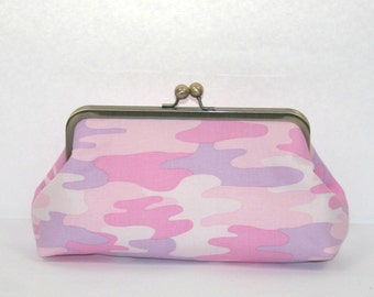Pink Camo Clutch Purse/Pink Camo accessory/ Camo Gift for Her - SALE