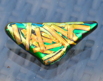 Large Dichroic Glass Brooch with a Sterling Silver Fitting - Triangular Shaped in Gold Green Blue on Black  - Gift Boxed