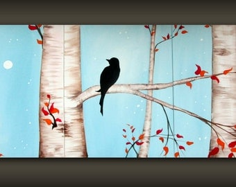 Blue Bird in a tree Painting...Bird on a Branch Art..Large Original Painting Multi Panel Triptych Canvas Painting by HD Greer