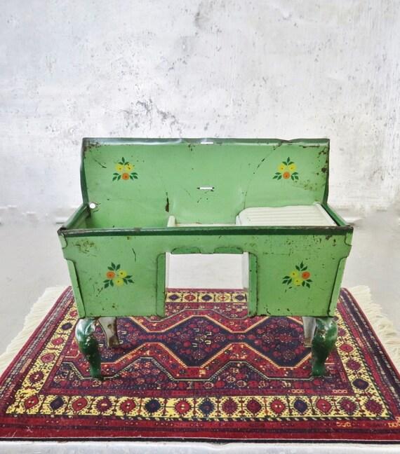 Dollhouse Tin Antique Kitchen Sink Unit Green Flowers