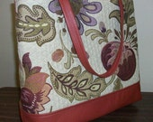 Peggy Tote - Matelasse Cotton with Leather Trim