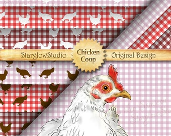 Chicken Coop Digital Paper Packs: Country Gingham Check in Pink, Red, Burgundy, White Hen Chicken Paper Crafting Supply (0177b0v)
