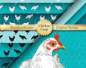 Digital Paper: Chicken Silhouettes & Hen on Chicken Wire Decor, Chicken Coop Teal Turquoise, Scrapbooking Paper, Paper Crafting Supply