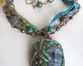 Ceramic Pottery Pendant Necklace with Fairy Dragonfly and Sari Ribbon