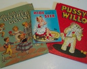 Lot of 3 Vintage Childrens Books - Paper Ephemera - Collage Supplies - Tell a Tale Books - Whitman Book - 1940s 1950's - Mother Goose
