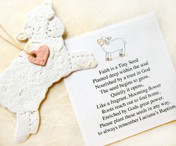 24 Baptism Favors Seed Paper Lambs Plantable by recycledideas