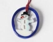 SNOWMAN Murrini murrine millefiory Christmas Tree Ornament pendant