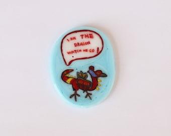 I am the Dragon collector murrine slice/coin miniature glass mosaic millefiori