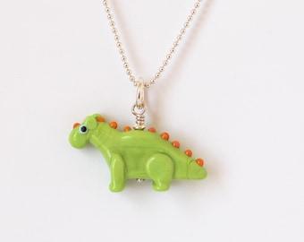 Dinosaur Necklace Lampwork