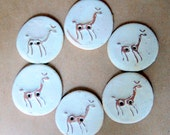 Handmade Ceramic Buttons - 6 Alpaca Buttons in Earthy Neutral Stoneware